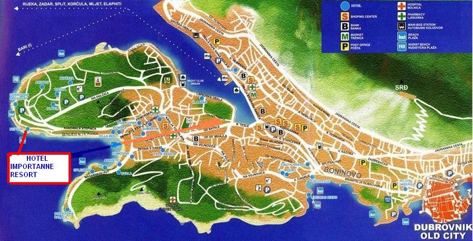 Dubrovnik Hotels Map Map of Dubrovnik Hotels